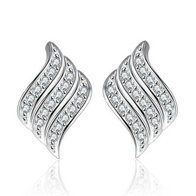 Real 925 Sterling Silver Women Girl Crystal Angel Wings Stud Earrings Jewellery