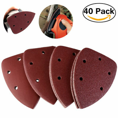 40pcs Grit 14cm Mouse Sander Pads Sanding Sheets Discs Mixed 40 80 120 240