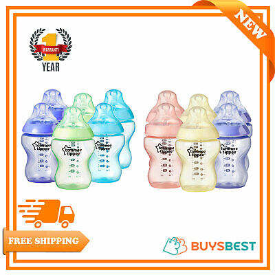 6 x Tommee Tippee Feeding Bottles 260ml Closer To NatureBoys Girls BPA FREE 9oz
