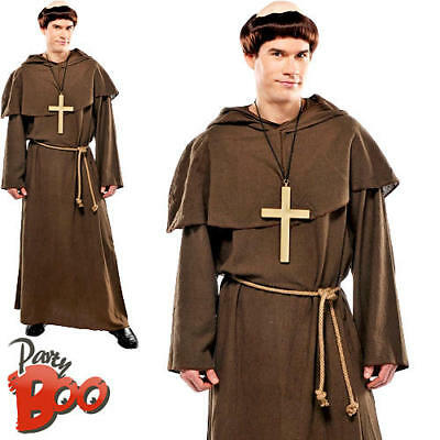 Holy Friar Tuck Mens Fancy Dress Religious Church Medieval Monk Costume Outfit