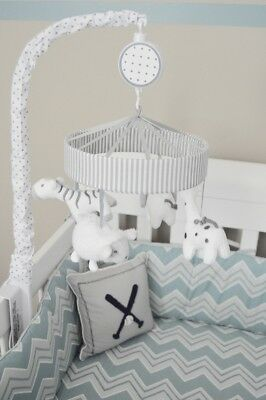 Two by Two Musical Crib Mobile w/ 4 Stuffed Toys in White & Gray by Circo