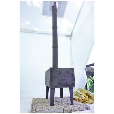Outdoor Wood Stove Cast Iron Portable Camping w/ Pipe For Vented Tent Cooking