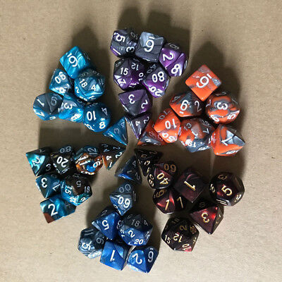 Metal 7pcs/Set TRPG Game Dungeons & Dragons Polyhedral D4-D20 Multi Sided Dice