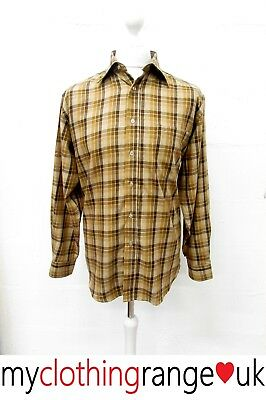 MEN'S VINTAGE BROWN CHECKED 70s DAGGER COLLAR SHIRT LONG SLEEVED SIZE L