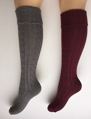 Ladies Cable Knee High Walking, Welly, Boot Socks Size 4-7 BN GREY & BURGANDY