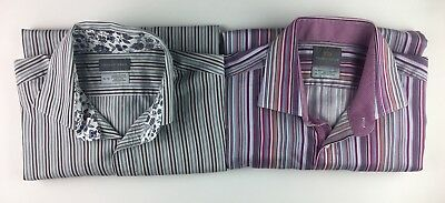 THOMAS DEAN Men's Lot Of 2 XL Shirts Button Up Long Sleeve Striped Flip Cuffs