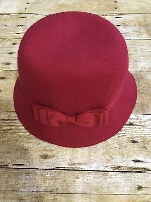 Janie And Jack Red Bucket Hat With Bow. Girls Size 4/5