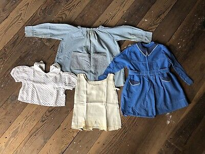 Antique Baby or Doll Clothes, Lot of Assorted Dresses and Tops, 100% Cotton
