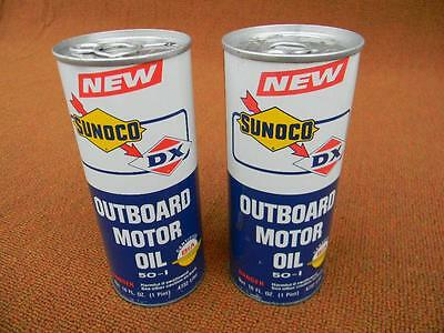 Vintage 1970's NOS Unopened Snap Top Sunoco DX Metal 2-Cycle Outboard Oil Cans