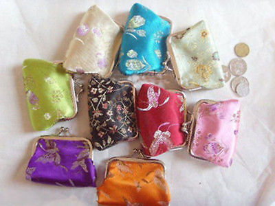 Wholesale 10pcs Embroidery Flower Silk Coin Purse Wallet Clutch Bag Pouch Gift