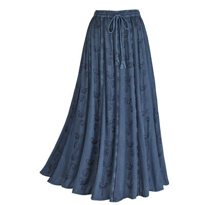 Women's Embroidered Broom Long Peasant Skirt - Enzyme Wash