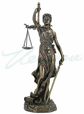 Cold Cast Bronze Cardinal Virtues Our Lady of Justice Statue Figurine, 11 3/4