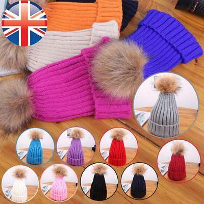 *UK Seller* Children Kids Winter Knitted Pom Pom Hat Bobble Warm Ski Beanie
