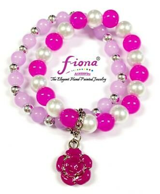 Hot Pink Flower Women Handmade Glass Stretch Bracelet New w Gift Bag