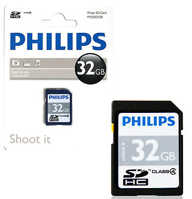 Genuine Philips 32Gb Sd Sdhc Hd Memory Card Class 4 Digital Cameras Video Phone