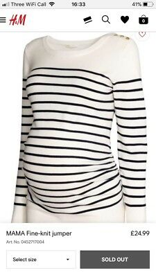 H&M Mama Maternity Fine Knit Striped Stripey Jumper Size Medium