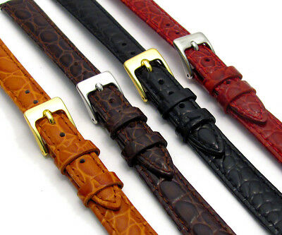 Croc Grain Leather Watch Strap Ladies Size 8mm - 14mm Choose Your Colour D033