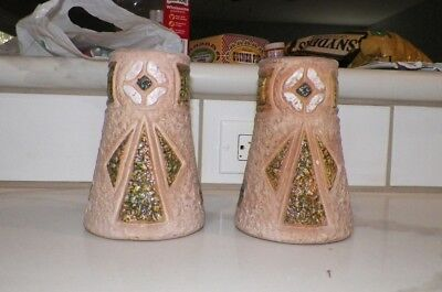 pair Antique Arts Crafts Pottery vase ROSEVILLE MOSTIQUE Rustic ORIGINAL