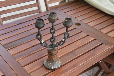 Vintage Retro Chain Link Candelabra Wooden Base & Holders