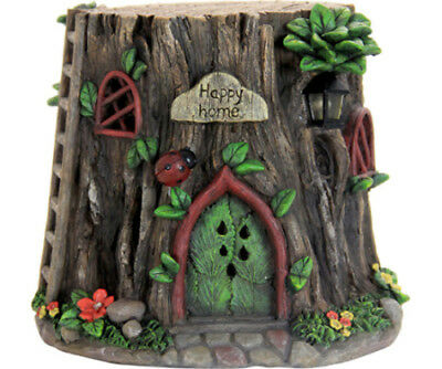Miniature Dollhouse FAIRY GARDEN - Tree Trunk Ladybug House - Accessories