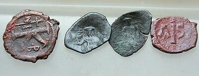 L6 Lot of 4x  Ancient Byzantine AE Coins  D= 20-25mm