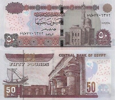 Egypt 50 Pounds (2016.2.28) - Mosque/Temple/Barge/p66-New UNC