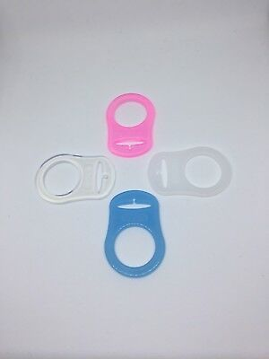 MAM DUMMY ADAPTOR dummy clips pacifier baby silicone Blue Pink White Clear x2