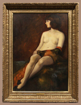 19th Century Oil Painting of Nude Woman signed Frank Duveneck (AMERICAN)