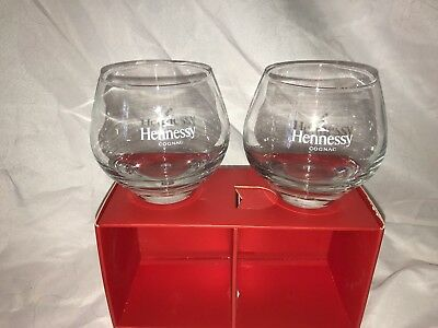 HENNESSY Cognac Glasses x 2 Whiskey Look Handblown Heavy Round Bottom Tumbler