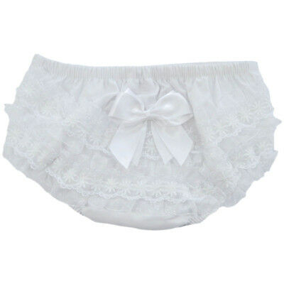 Baby Girls White Cotton Frilly Pants Nappy Cover Daisy Lace & Satin Bow 0-18m