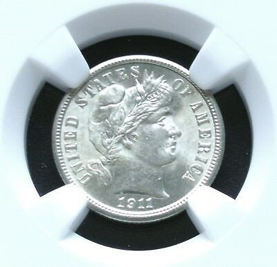 1911 Barber Silver Dime NGC MS65