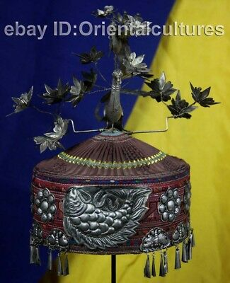 Vintage tribal exotic chinese handmade miao silver embroidery hat Headpiece