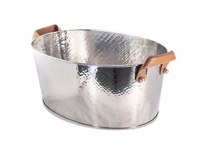 Hammered Punch Bowl Stainless Steel Bucket Champagne Wine Cooler Container Oval