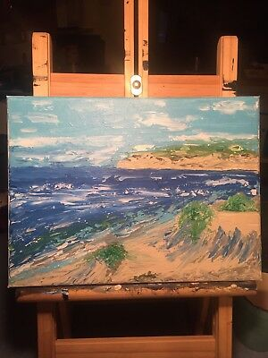 original, abstract acrylic paintings on canvas of beach scene