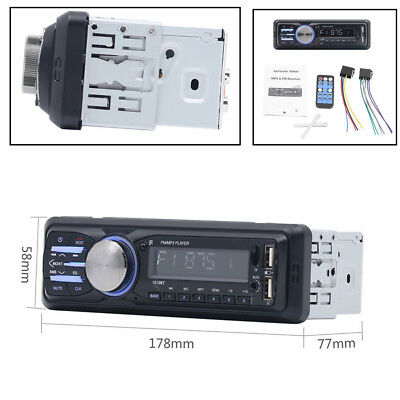 12V 1Din FM Bluetooth Hands-Free Audio Car Radio Stereo AUX Dual USB Mp3 Player