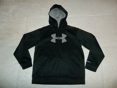 Euc Sewn Black & Gray Under Armour Hoodie Hooded Sweatshirt Youth Boys L Large