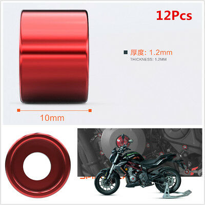 12X Red Aluminum-Magnesium Alloy Motorcycle Nuts & Bolts Creative Screw Cap 6mm