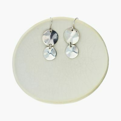 goodbyebabylon / sterling silver hammered discs drop dangle / earrings (10.4g)