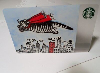 Starbucks $0 balance homemade gift & greeting card with Kliban Super Cat City