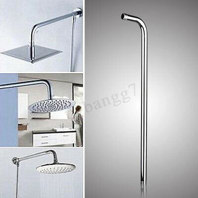 24'' 60cm Stainless Steel Shower Head Wall Arm Mounted Tube Rainfall Bathroom