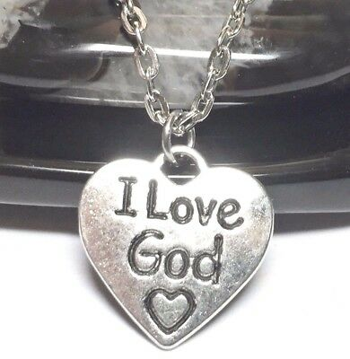 "I LOVE GOD_Small Pendant + 18"" Chain Necklace_Christian Faith Jesus Cross Silver"