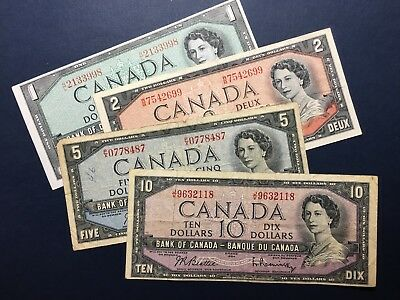 Lot Canada 1954: 1, 2, 5, 10 dollars, Four Banknotes F to aUNC, No Reserve