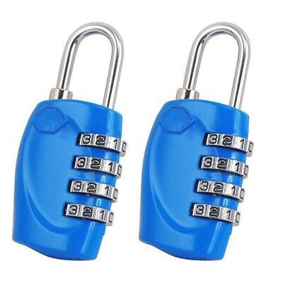 2 X Blue 4 Dial TSA Combination Padlock Resettable Lock Luggage Suitcase Tr N4F3