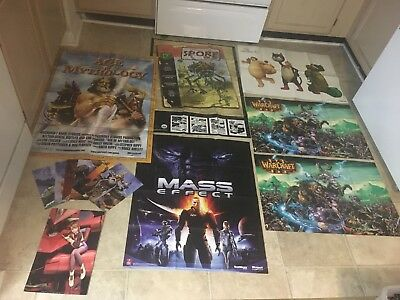 Video Game Poster Lot of 12 w/ extras. Age of Mythology, WoW, Final Fantasy etc.