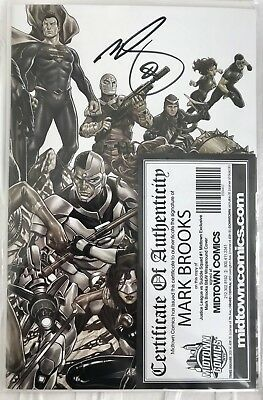 Justice League Vs Suicide Squad 1 B&W Virgin Variant Signed By Brooks COA NM