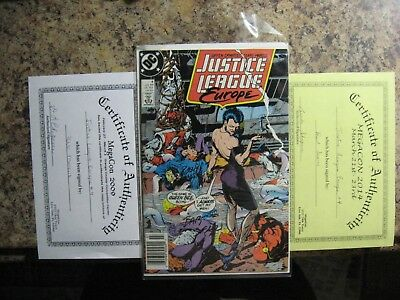 Justice League No. 4 Signed Twice W/coa 1989 Signed Comic Auction Going On Now /