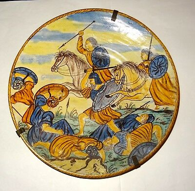 Grand Plat Majolique En Ceramique  - Dated 1532 - Ceramic Dish War Scene