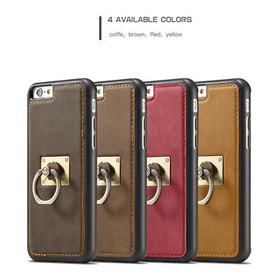 Vintage CaseMe Ring Stand Car Holder PU Leather Back Case Cover For Cell Phones