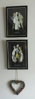 Circa 1936 Original  PAIR of Vintage paintings by E Smith Ladies and Gentlemen,