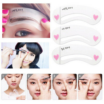 3pcs Template Eyebrow Drawing Card Stickers Brow Stencil Grooming Make Up Tool
